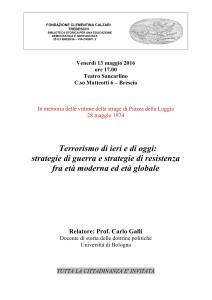 Terrorismo di ieri e di oggi